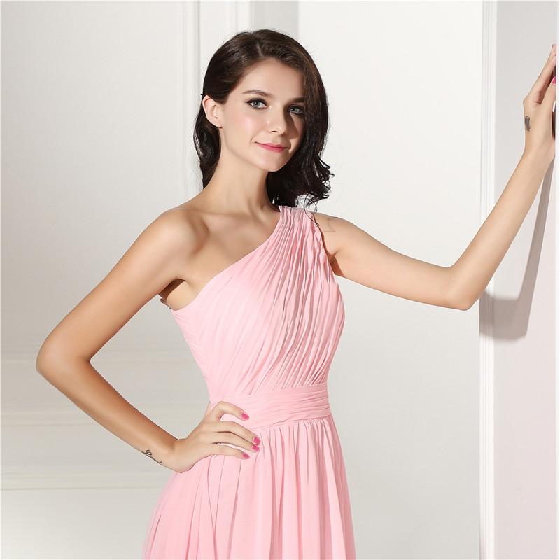 Robes de demoiselle d'honneur rose longue grande taille une épaule en mousseline de soie une ligne sans manches en dentelle perlée longueur de plancher robe de soirée de mariage - 5