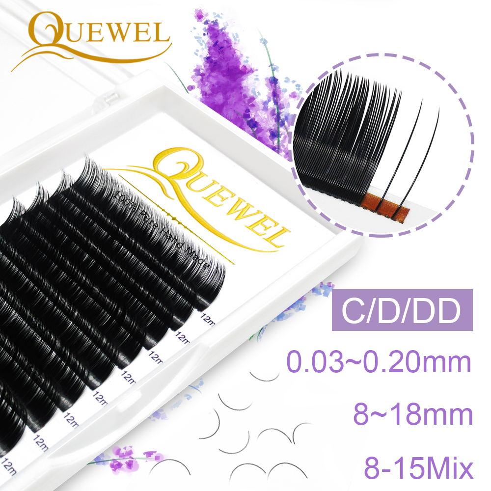 Quewel Individual False Eyelash Length 8-18mm Faux Natural Eyelashes Matte Black Curl Lashes Comfort Thick Soft High Quality