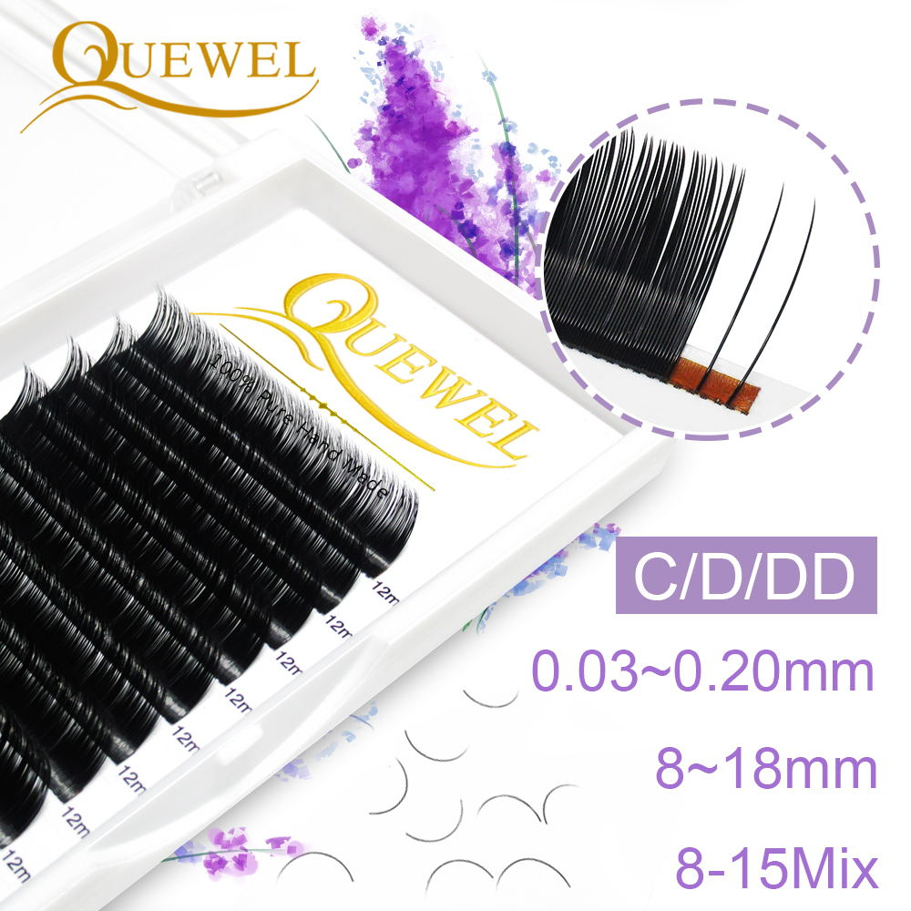 Quewel Individual False Eyelash Length 8-18mm Faux Natural Eyelashes Matte Black Curl Lashes Comfort Thick Soft High Quality(China)