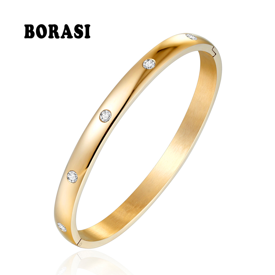 BORASI Classic Round Cubic Zircon Bracelet Gold Color Stainless Steel Bangle Bracelet For Women Bracelets Bangles Wedding Gift chic solid color round coin bracelet for women