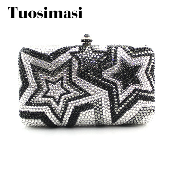 Blue Star Crystal Evening Clutches Women With Rhinestones Bridal Purses Wedding Prom Box Clutch Bag Handbags Shoulder Bag luxury crystal clutch handbag women evening bag wedding party purses banquet