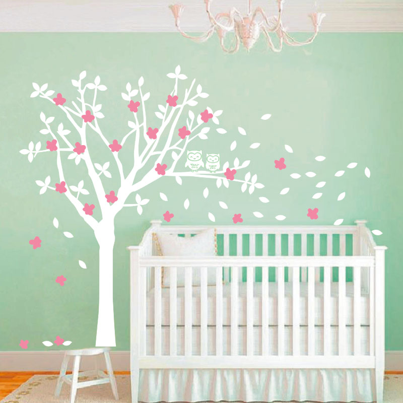 2016 Popular Product Owls And Huge White Tree Vinyl Decals Baby Nursery Bedroom  Wall Art New