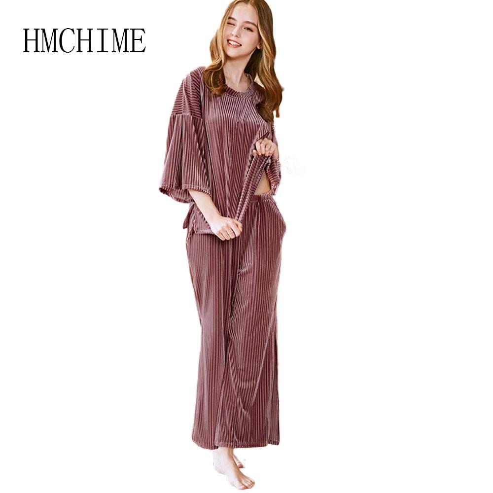 Two Pieces Velvet Women   Pajamas     Set   Round Collar Half Sleeve Pijama Mujer Suits Elastic Waist Female Sleepwear Woman Pyjama   Set