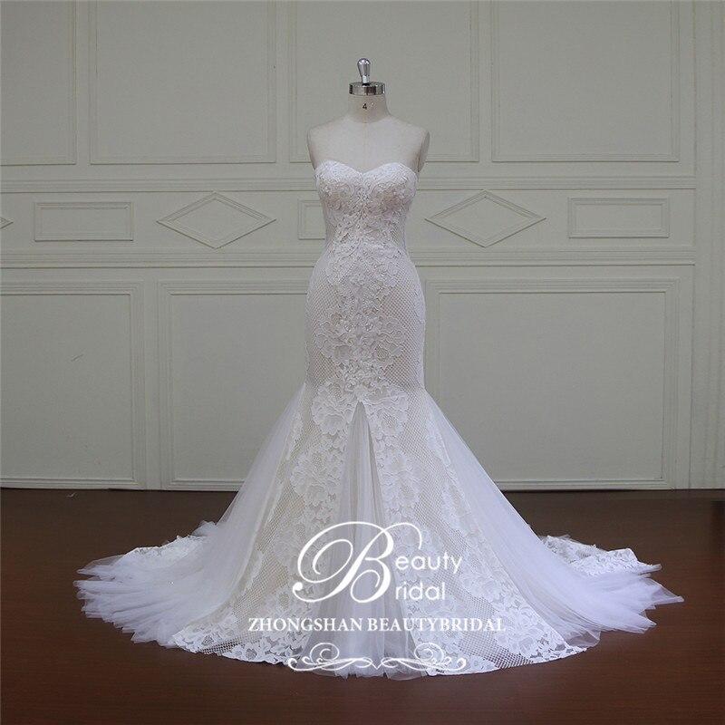 Trumpet Wedding Dresses 2019: Elegant Sweetheart Appliques Lace Mermaid Wedding Dresses