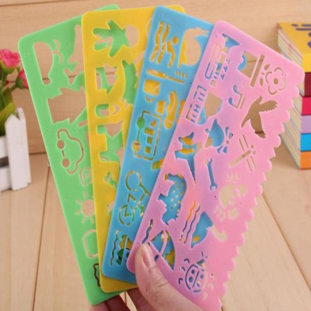 4 Piezas Reglas De Plástico Con Líneas Onduladas Y Kawaii Cute Emoji
