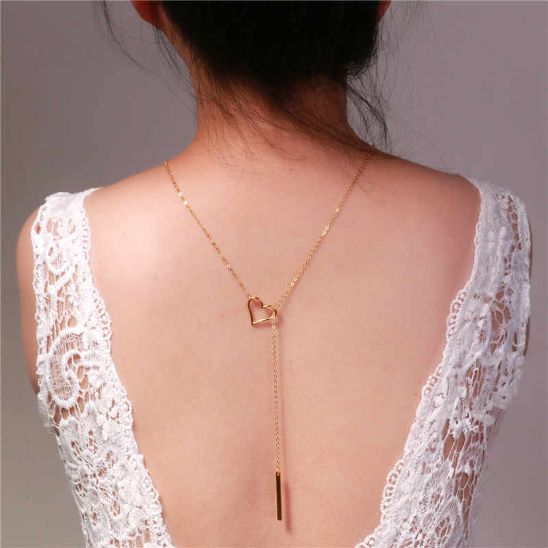 Backdrop Necklace Heart Shaped Hollow Bar Pendant Design Long Sweater Necklaces Gold Color Body Back Chain Bride Wedding Jewelry
