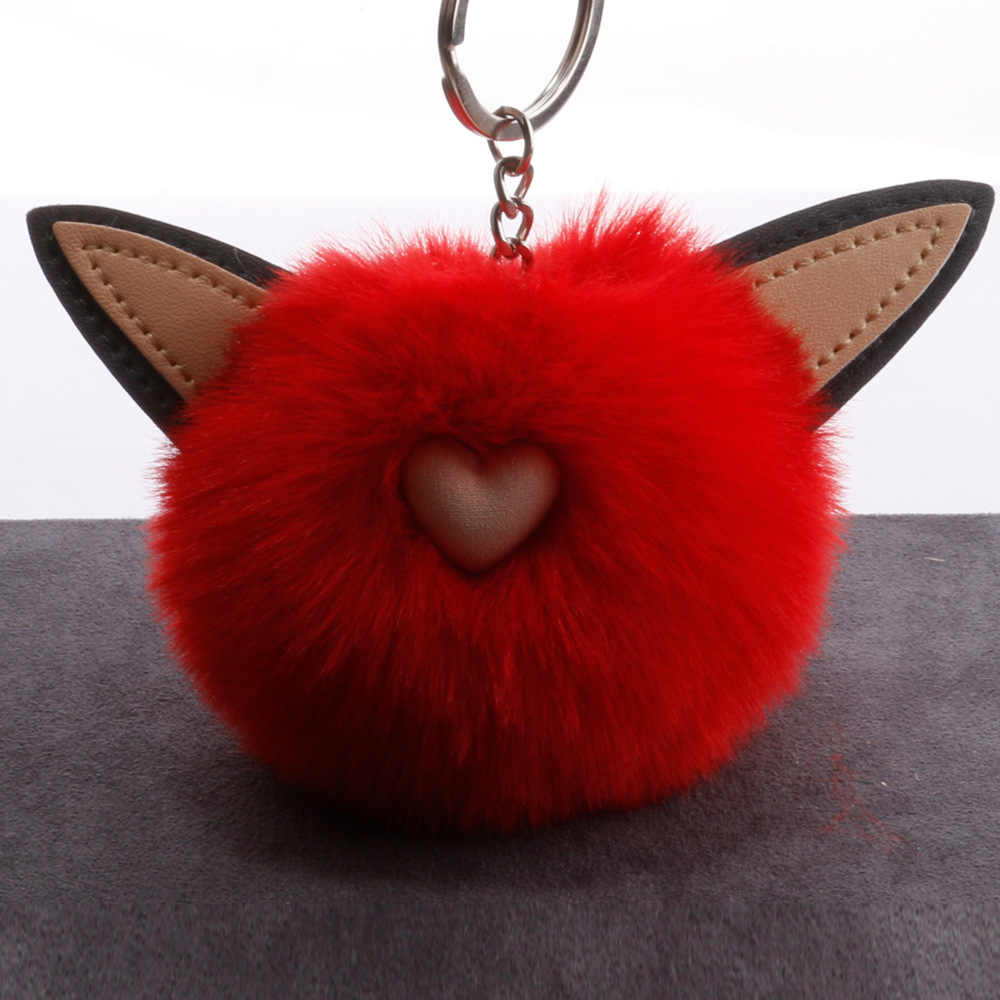 Bonito das Mulheres Do Gato Chaveiros de Coelho Fofo Pom Poms Faux Rex Rabbit Fur Bola Menina Chaveiro Bolsa Pingente de Carro acessórios Anel chave
