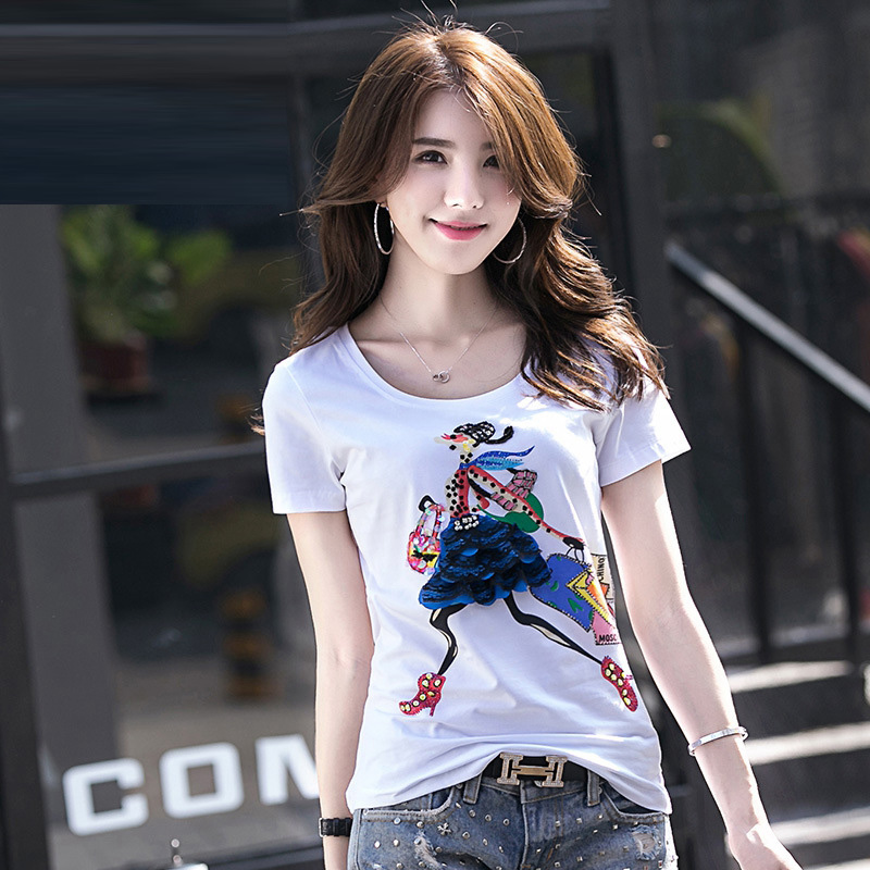2017 New Short Sleeved Summer Ladies T Shirt Wholesale Fashion Handmade Pattern Slim Version Small Shirt