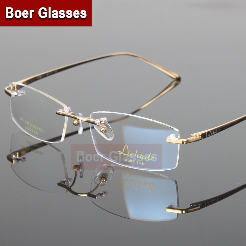 8df5dc03b8a New Arrivals Business Eyewear 100% pure titanium male rimless Eyeglasses  frame light weight recipe RXable 6379 size 55 17 140-in Eyewear Frames from  Men s ...