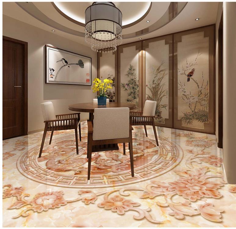 3D полы Дракон и Феникс мерного рельефа имитация мрамора ПВХ этаж обои 3d пол живопись обои