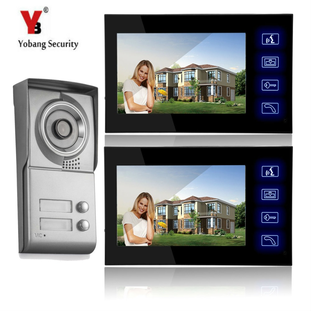 YobangSecurity 7 Inch Touch Screen Video Door Phone Doorbell Chimes Security Entry Access Control System For 2 Apartment Familie