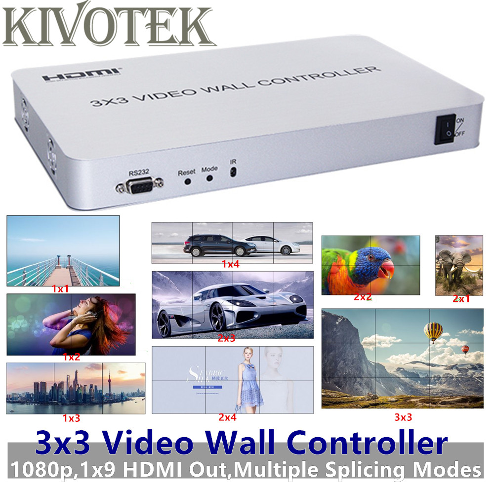 3x3 HDMI Video Wall Controller Adapter 1x9 HDMI Connector HD LCD TV Wall Processor RS232 Control For HDTV Display Free Shipping