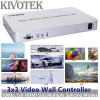 3x3 HDMI видео стены Управление; Адаптер оптической вилкой 1х9, разъем HDMI HD ЖК ТВ настенный процессор RS232 Управление для HD ТВ Дисплей Бесплатная д