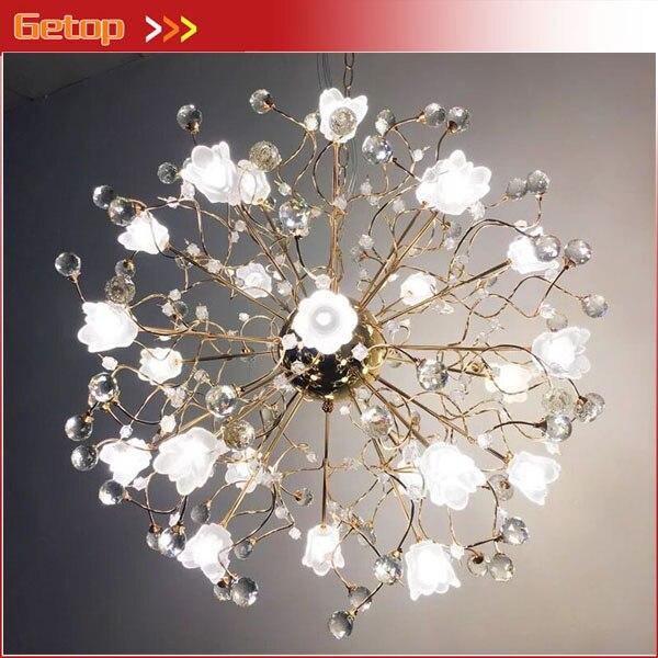 New Arrival European Style Frosted Crystal Pendant Light Living Room Restaurant Bedroom G4 LED Luxury Rose