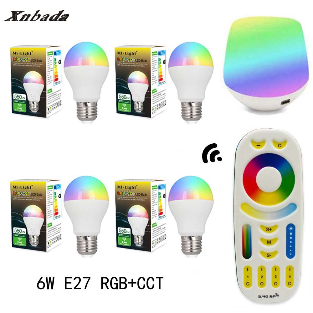 MiLight Led Lamp 6W E27 RGB+CCT Led Bulb+RGBWW Remote+IBX1 RF Remote Wifi Led Spotlight light Led light AC85-265V Free Shipping keyshare dual bulb night vision led light kit for remote control drones