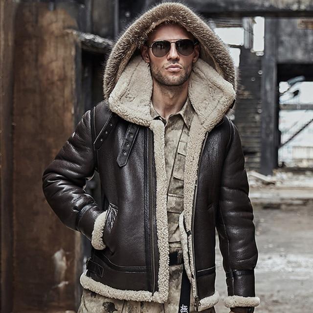 men genuine leather jacket man real original ecological sheepskin coat raccoon fur detachable hood winter jackets short design