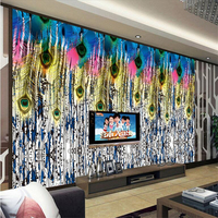 Custom Wallpaper Modern Feathers Peacock Wallpaper 3d Photo Wall Paper Environment Friendly Study Kitchen TV Background Embossed