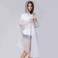 도트 비옷 여성 투명 비옷 EVA 방수 판쵸 후드 커버 레인 코트 단일 사람 비옷 카파 드 Chuva