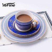 YeFine European Hotel Club Bone China Dinnerware Set 8 inch Plate and 10 inch Dinner Plate Porcelain Coffee Mugs And Saucers