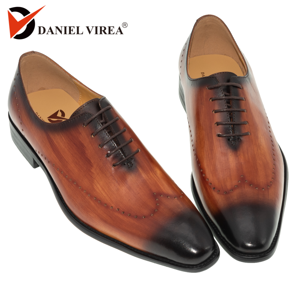 Genuine Leather Men Dress Shoes Office Business Wedding Mixed Brown Color Luxury Formal brogue Pointed Toe