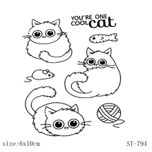 AZSG Cute kitten  Clear Stamps/Seals For DIY Scrapbooking/Card Making/Album Decorative Silicone Stamp Crafts
