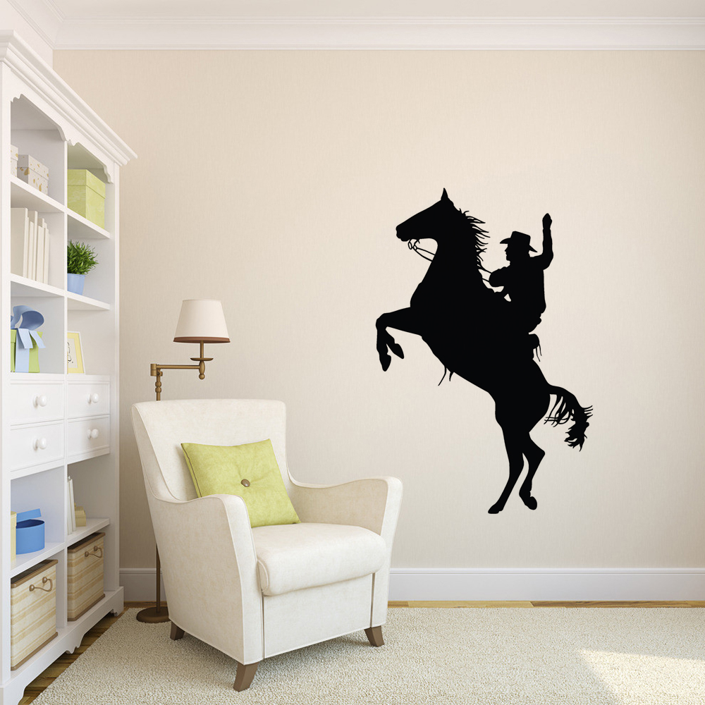 Cowboy Horse Western Vinyl Wall Sticker Picture Wallpaper for Living ...