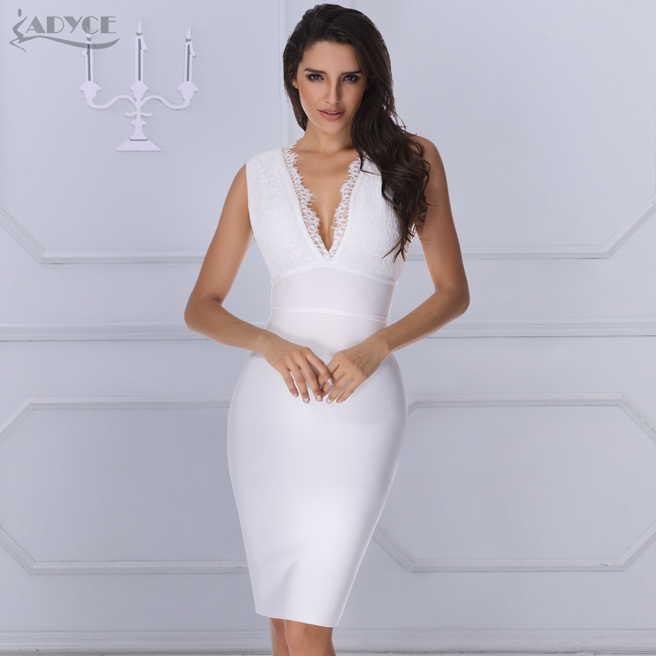 ADYCE 2019 New Summer Luxury Women Runway White Lace Bandage Dress V neck Backless Celebrity Cocktail
