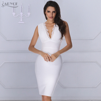 ADYCE 2019 New Summer Luxury Women Runway White Lace Bandage Dress V neck Backless Celebrity Cocktail Party Bodycon Dresses