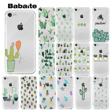 Babaite Candy Color Art Cactus Plant Transparent TPU Soft Silicone Phone Cover for Apple iPhone 8 7 6 6S Plus X XS MAX 55S SE XR inonler зеленый iphone 55s