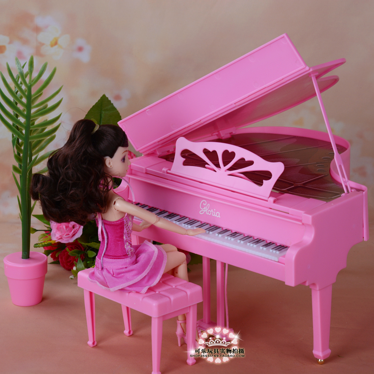 Dolls accessories new furniture pink simulation piano for barbie doll toy diy play sets children girls birthday gifts