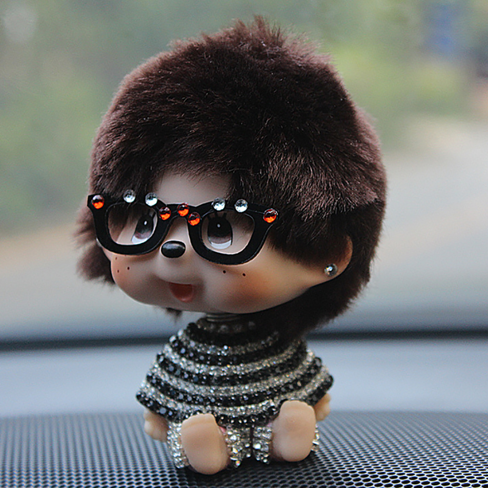 Car Ornaments Crystal Bling Monchichi Swinging Shaking Head Dashboard Decoration Toys Automobile Cute Decor Accessories Gifts solar powered head shaking cute hula couple desktop toy