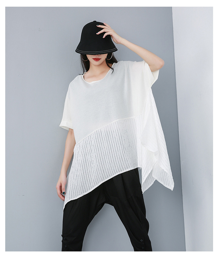 New Fashion Style Patchwork Summer Top Over Sized T-Shirt Fashion Nova Clothing