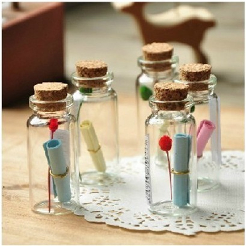 50Pcs 0.5ml Cute Mini Small Tiny Empty Clear Empty Wishing Vials with Cork Glass Bottles Jars Containers