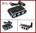 Venda quente 3 triplo sockets isqueiro do carro com USB 1 para 3 conversor DC 12 V com LED