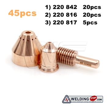 W.S 220842 220816 220817 electrode nozzle 85A shield  20+20+5 plasma cutter torch consumable kits 45pcs