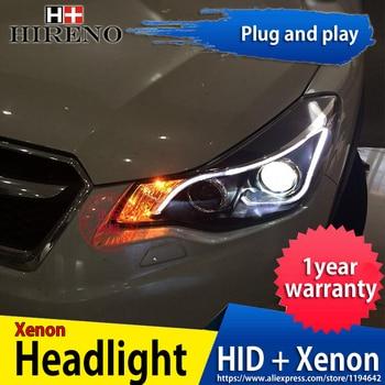 Hireno Headlamp for 2011-2015 Subaru XV Headlight Headlight Assembly LED DRL Angel Lens Double Beam HID Xenon 2pcs