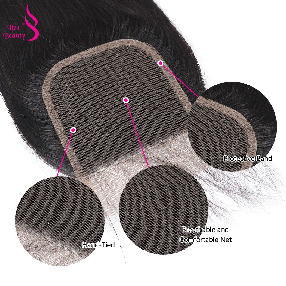 Real Beauty  Straight Hair Lace Closure Three/Free/Middle/ Part  4x4 inch Swiss Lace Closure 6