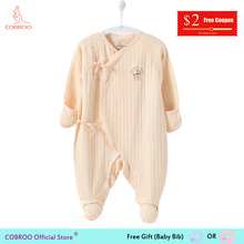 COBROO Newborn Baby Girl Clothes 0-3 Month Footies Cotton Long-sleeve Infant Baby Boy Jumpsuit NY150013