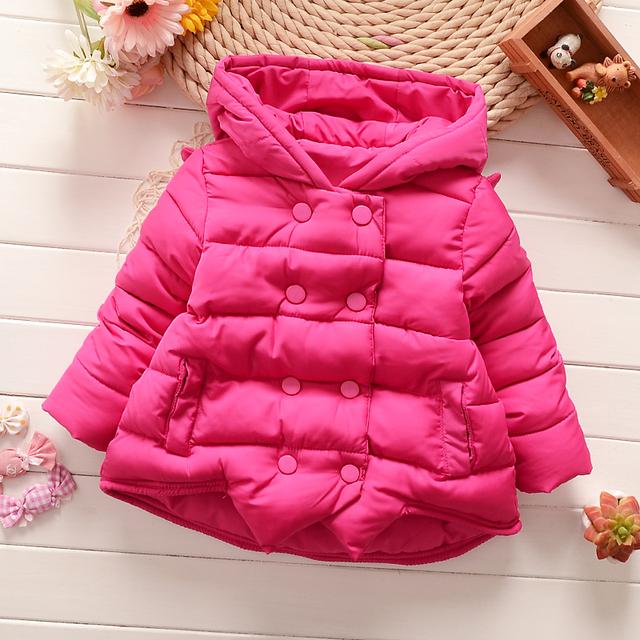 Crianças Casaco 2016 casaco de Inverno da menina do bebê Meninas jaqueta de Super Quentes do bebê Forma dos desenhos animados asas de Anjo De Algodão-acolchoado roupas casaco bebê