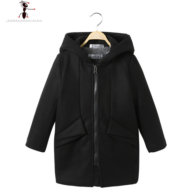 Hooded Woolen Fashion Boys Black Boy Kids Coat Famous Brand Kid Cool Coat Zipper Pockets Worsted 2017 New Arrival 2559