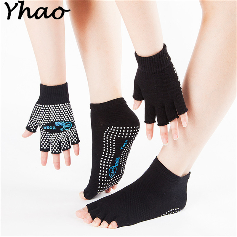 Yhao Professional Good Grip Cotton Non-slip Yoga Toe Socks&Gloves Set For Pilates For Women