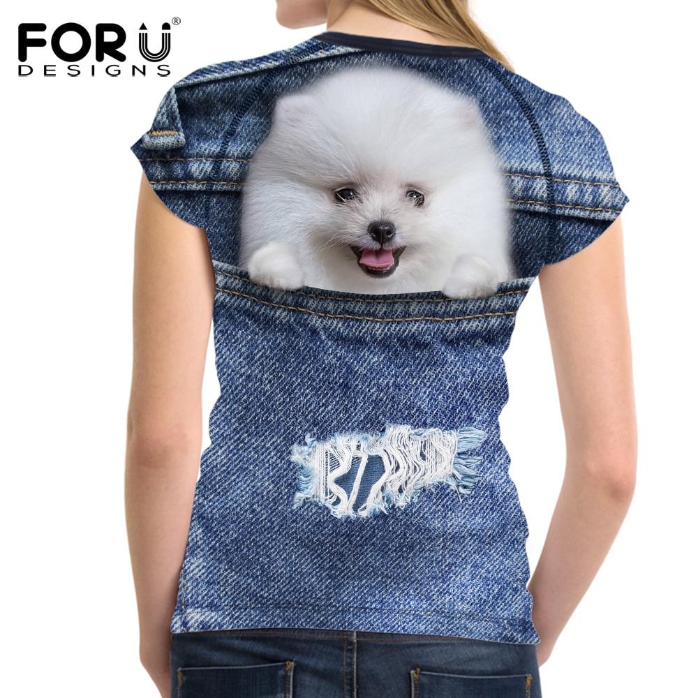 ΑΝΤΙΠΡΟΣΩΠΕΥΣΕΙΣ Denim 3D Pomeranian σκυλιών - Γυναικείος ρουχισμός - Φωτογραφία 3