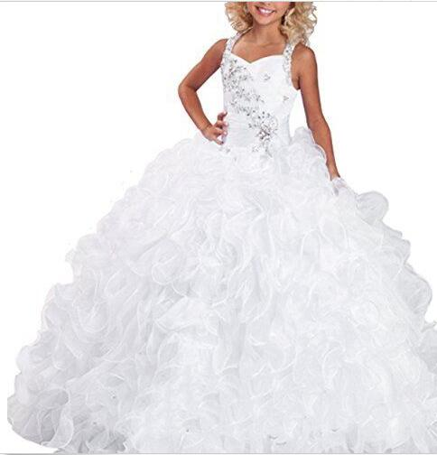 In Stock Size8/12 Luxurious Layered Beads Princess Dress Kids Pageant Ball Gowns in stock layered pre teen party gowns little girls pageant dress pink color