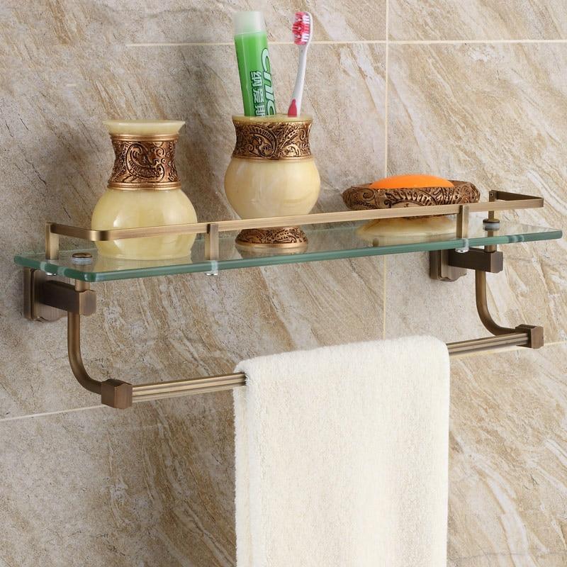 Bathroom Glass Shelves With Towel Bar.Image Of Bathroom Floor ...