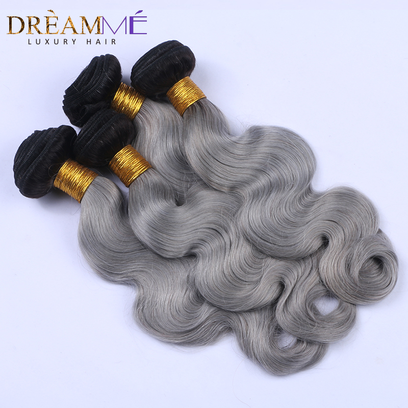 Dream me Hair Body Wave 3 Bundles 1B Grey Ombre Brazilian Remy Human Hair Weave Gray