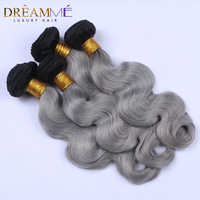 Dream me Hair Body Wave 3 Bundles 1B/ Grey Ombre Brazilian Remy Human Hair Weave Gray Color Ombre Hair Extensions