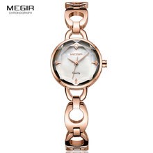 цена на MEGIR Women's Metal Bracelet Simple Quartz Watches Clock Rose Gold Fashion 3ATM Waterproof Wristwatch Relogios Femininos 4173
