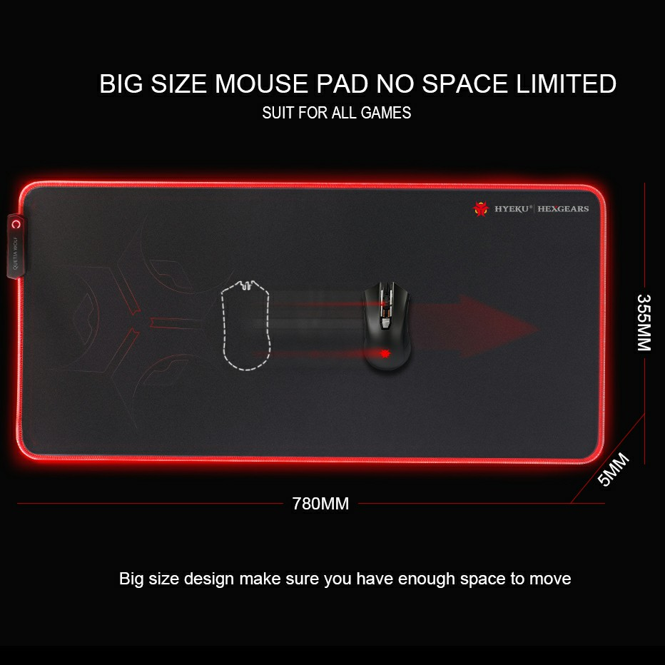 HEXGEARS Led Mouse Pad Large Thicken 780*5*355 mm Knitted Edge 7 Color Rubber Base Big Gaming Gamer Soft Mousepad Mouse Mat