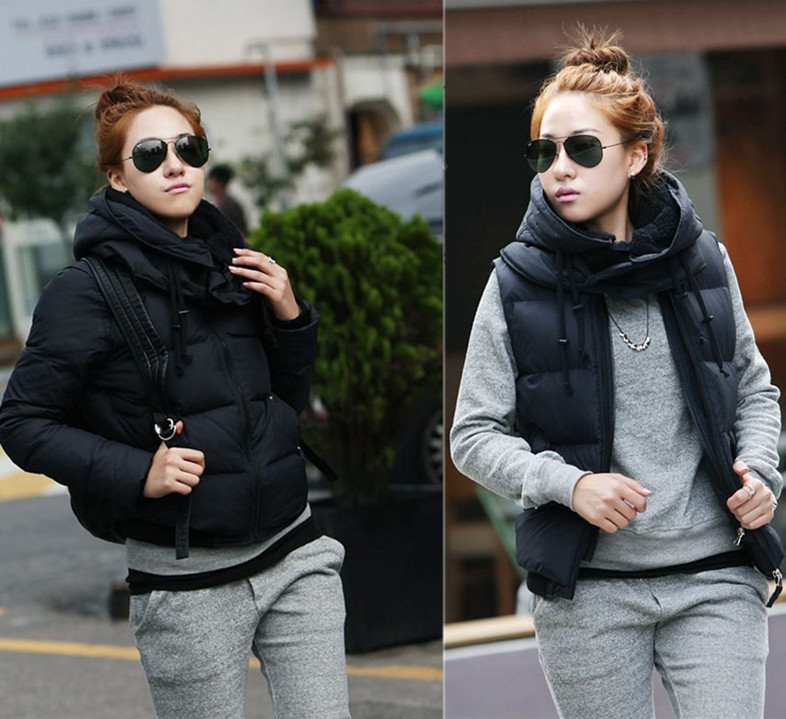 2013 Winter New Korean Female Thick Vest Detachable Cap Two Models Down Jacket WomenS Thick Hooded Down Coat H1074
