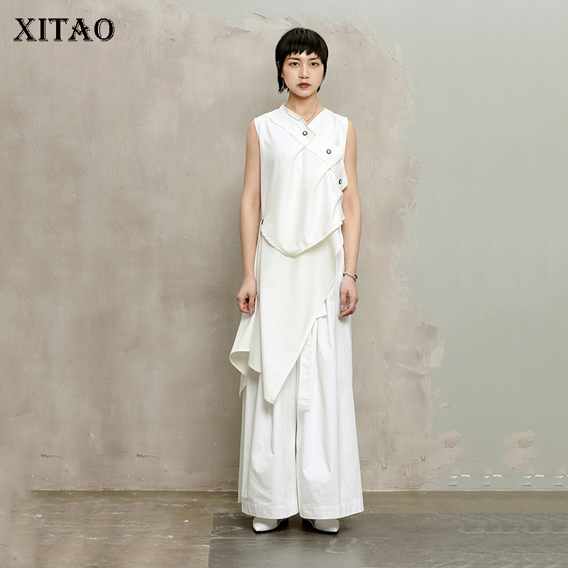 [XITAO] Korea New 2018 Summer Fashion Women Solid Color Button Decoration Pleated Irregular Sleeveless Tops Female Tanks LJT1713
